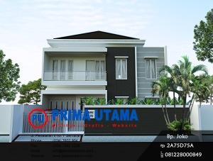 Desain Arsitektur 3D Fasad Rumah Minimalis 2 Lantai Bp. Wibowo di Semarang