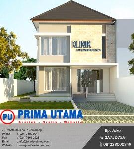 Desain Arsitektur 3D Fasad Tampak Depan Klinik Bedah Tulang di Purwodadi Semarang