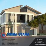 Desain Arsitektur 3D Fasad Tampak Depan Rumah Kost Bp. Adi Nugroho di Semarang